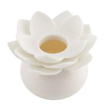 New Hot Chic Lotus Flower Cotton Bud Holder Toothpick Case Cotton Swab Box Home Decor (White)