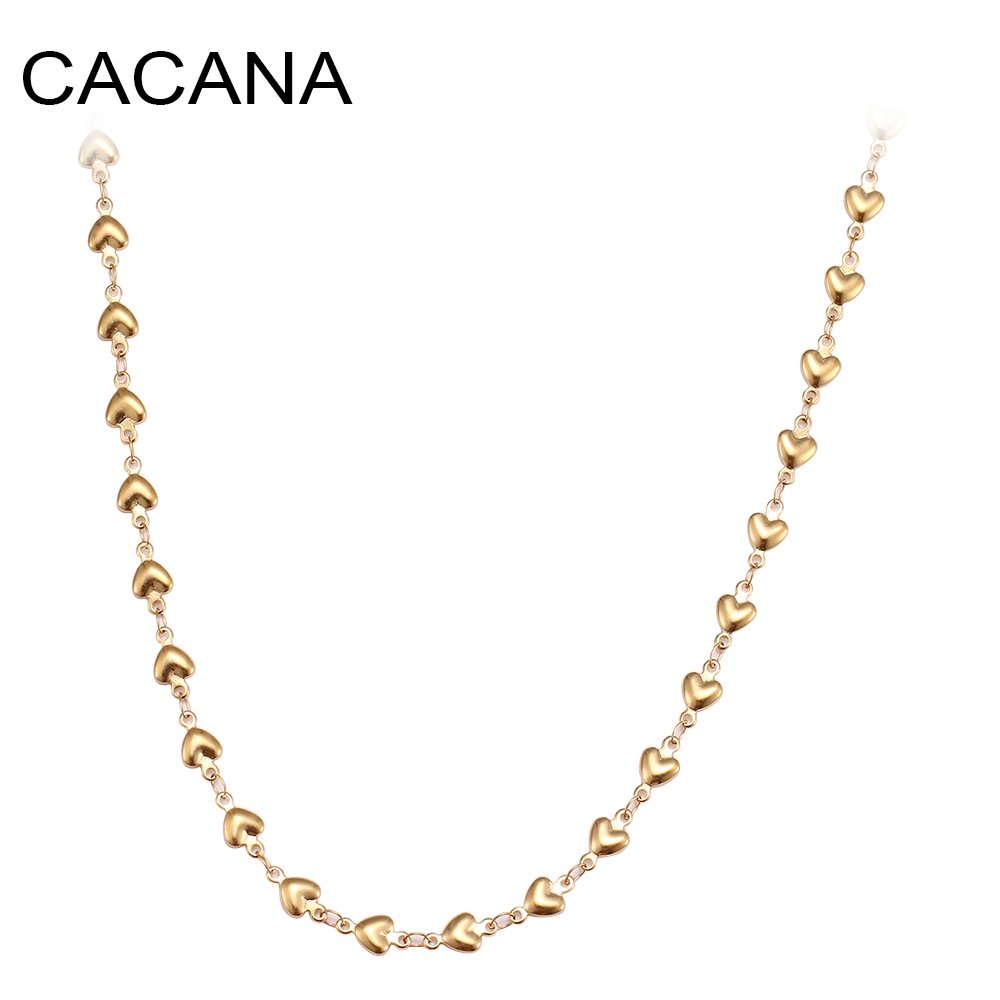 CACANA Stainless Steel Chain Necklaces For Man Women Gold Silver Color For Pendant Heart-shaped Love Donot Fade Jewelry N1930