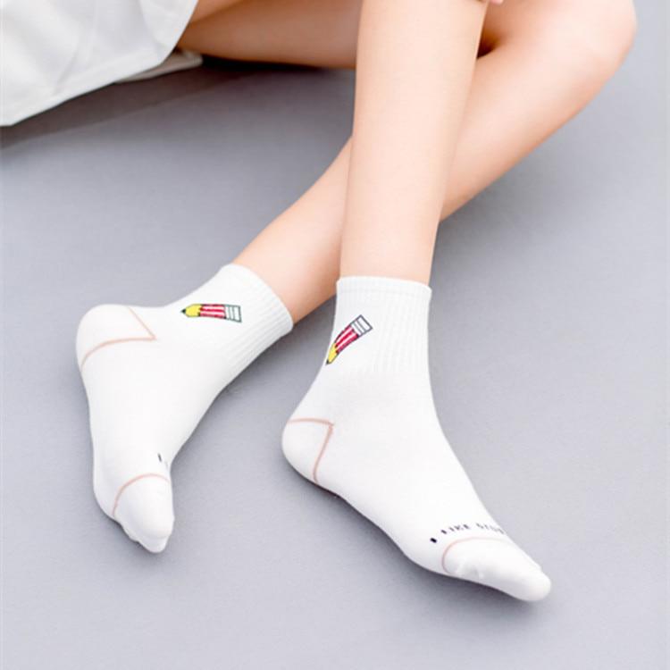 New white classic cotton socks banana dinosaur personality funny cartoon female socks college fashion tide socks in Socks from Underwear Sleepwears