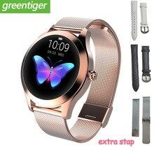 Relógio inteligente kw10 ip68, smartwatch à prova d água com múltiplos modos esportivos, pedômetro, ritmo cardíaco, bracelete, para moças, 2020