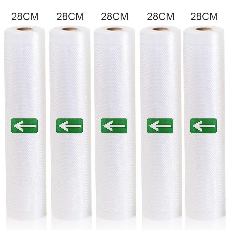5 Rolls Lot Kitchen Food Vacuum Bag Storage Bags For Vacuum Sealer Food Keep 12+15+20+25+28cm*500cm