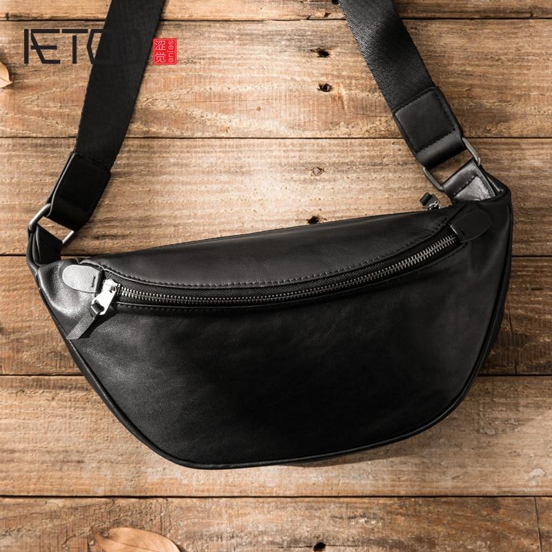 AETOO Leather trend men's one-shoulder bag, head leather slant bag, simple hundred with chest bag, s