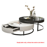 Modern Simple Telescopic Tea Table Creative Personality Black and White Circle Irregular Design Living Room Sofa Side Tea Table