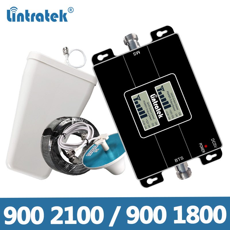 Lintratek Signal Booster 2G 3G 900 2100Mhz Repeater 2G 4G 1800 Mobile Phone Amplifier 900 1800 LTE GSM 3G 4G Booster KW17L-GW GD