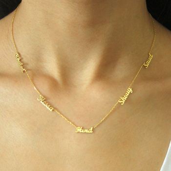 Custom 1-6 Multiple Names Necklace Kids Personalized Nameplate Choker Necklaces Mom Dad Jewelry Stainless Steel Birthday GiftS