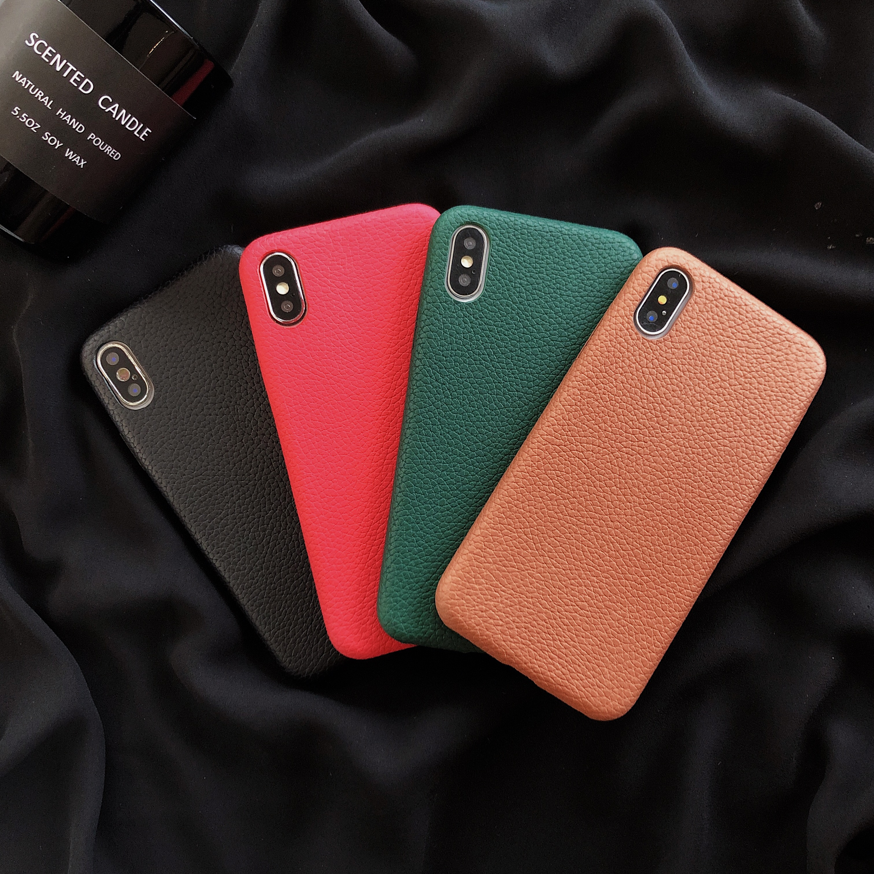 Solid Color <font><b>Case</b></font> for <font><b>iPhone</b></font> XS MAX XR X Candy Color Phone <font><b>Cases</b></font> for <font><b>iPhone</b></font> 7 6 <font><b>6S</b></font> 8 Plus Soft <font><b>Leather</b></font> cover Shell Cover for <font><b>case</b></font> image