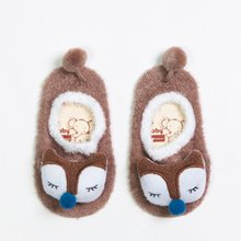 1 Pair Kids Baby Slippers Socks Letter Printed Cotton Winter