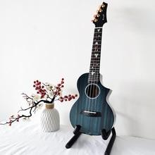 固体ウクレレマホガニーエンヤ M6 ウケコンサートテナー黒キット 23/26 インチブルーウクレレハワイミニギターミュージカル楽器
