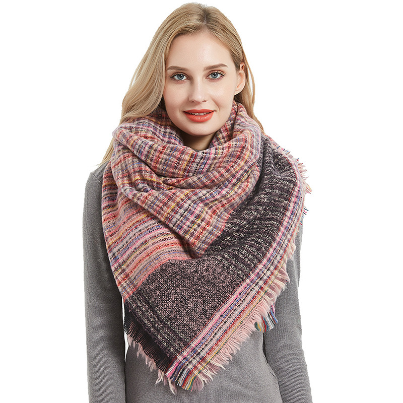 Europe And The United States New Thorn Capillary Lattice Square Scarf Ladies Blanket Pink Scarf Padded Scarf Shawl