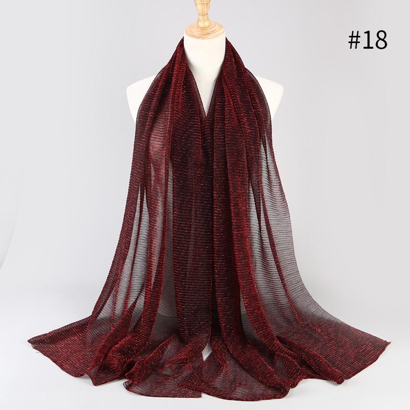 75*180CM Autumn Fashion Luxury Ladies Muslim Scarf Stretch Gold Silver Silk Lady Headscarf Fashion Shawl Shimmer Women's Hijab