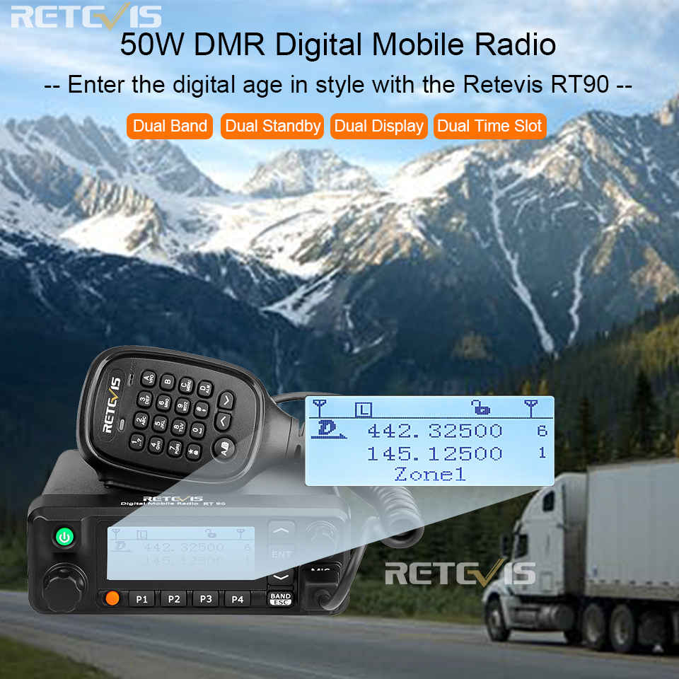 Retevis RT90 DMR Digital Mobile Radio GPS VHF UHF Transceiver Dual Band 50W Mobile Car Two Way Radio Station with Program Cable-in Walkie Talkie from Cellphones & Telecommunications