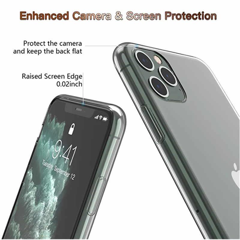 واضحة لينة TPU غطاء من السيليكون على ل فون 11 برو ماكس 7 8 6 6s زائد X XS ماكس XR شفافة جراب هاتف 5s SE ضئيلة غطاء كوكه