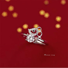 925-Sterling-Silver Jewelry Opening-Rings Mouse Crystal Animal Personality Luxury SR610