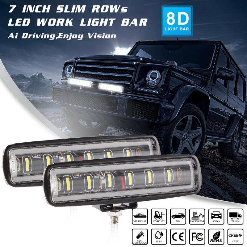 7 Inch Driving Fog Offroad LED Work Car Light 12V Universal Car 4WD Led Beams Work Light Bar Spotlight Flood Lamp 90W 6500K