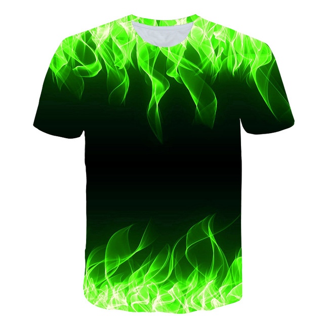 2019 hot sales kids New Summer T-shirt With Round Neck boys girls Short Sleeve Blue Flame 3D Printed Top high quality | HOTSHOPDIRECT