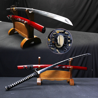 Real swords japanese katana samurai sword 1045 carbon steel full tang quality red sheath display knife metal handmade craft