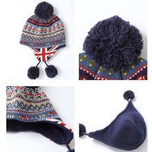 Шапка-ушанка с помпоном для маленьких детей; длинный шарф в британском стиле; зимняя теплая шапка; C90E