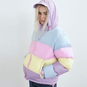 Image 3 - 여성 겨울 레인보우 코트 오버 사이즈 파커 캐주얼 따뜻한 코튼 패딩 자켓 스트라이프 봄 가을 의류 Splicing Fluffy Parka