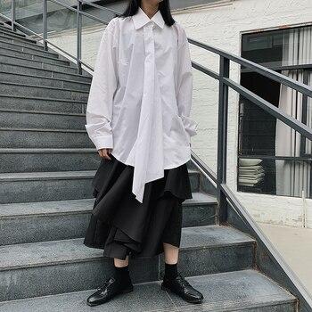Johnature 2020 nouveau col rabattu en vrac mode japonaise femmes hauts et chemisiers printemps couleur unie longues femmes chemises