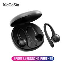McGeSin Sport casque bluetooth oreille crochet écouteur sans fil Bluetooth 5.0 en cours dexécution casques de gymnastique écouteurs avec micro pour Xiaomi Iphone Huawei