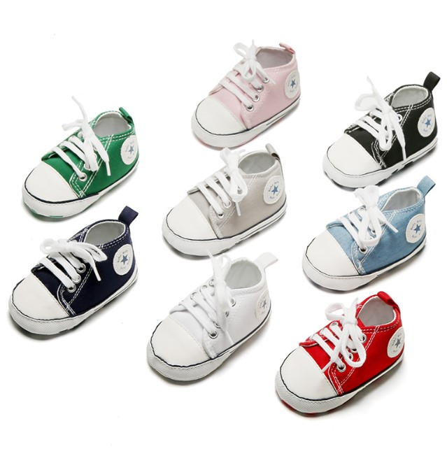 Baby Shoes Cotton Soft Anti-Slip Boy Girl Star Solid Sneaker Newborn Infant First Walkers Toddler Casual Canvas Crib Shoes