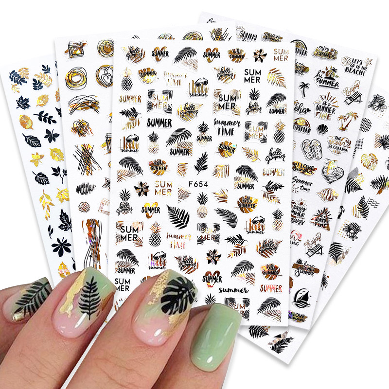 Summer Design 3D Stickers For Nails Laser Black Gold Flower Leaf Series Decorations Sliders Nail Art Sticker Decals