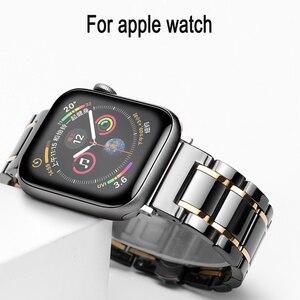 Image 1 - Bracelet watcn en céramique pour montre Apple 4 5 44mm 40mm Bracelet pour iwatch 3 2 38mm 42mm en céramique avec Bracelet en acier inoxydable Bracelet de montre