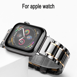 Image 1 - Ceramic watcn band For Apple Watch 4 5 44mm 40mm Bracelet for iwatch 3 2 38mm 42mm Ceramic With Stainless Steel Strap Watchband