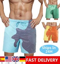 Dropshipping masculino adulto crianças calções de natação temperatura-sensível cor mudando praia calças curtas calções de banho