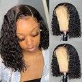 Парик Боб, парик из натуральных человеческих волос с волнистыми кружевами спереди, парики для черных женщин 13x4, парик на сетке спереди, пред...