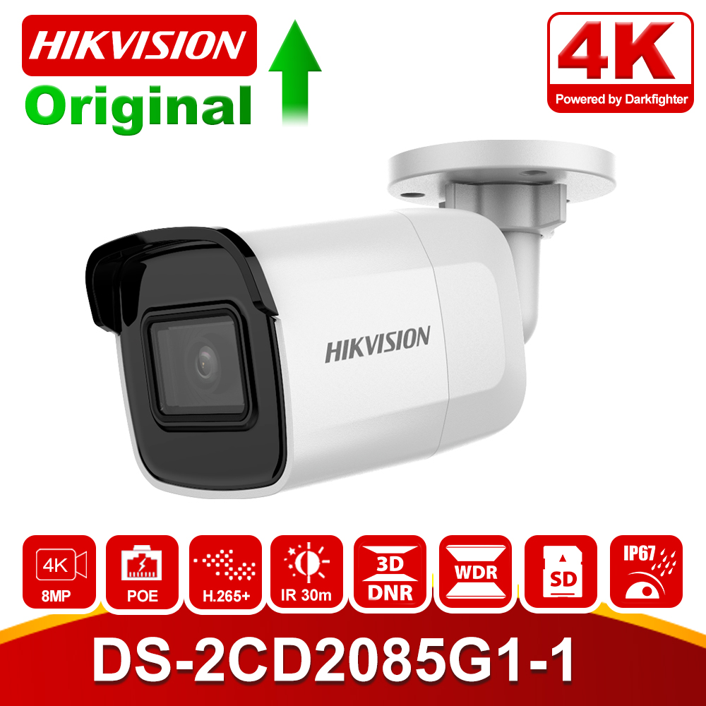In Stock Original Hikvision 8MP IP Camera POE DS-2CD2085G1-I Outdoor 4K Bullet CCTV Camera Darkfighter IR 30M Up To 128 GB IP67