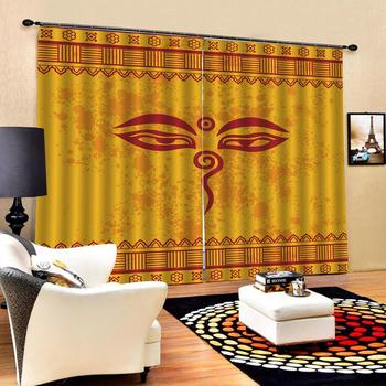 Customized size Luxury Blackout 3D Window Curtains For Living Room Yellow background pattern Decoration curtains