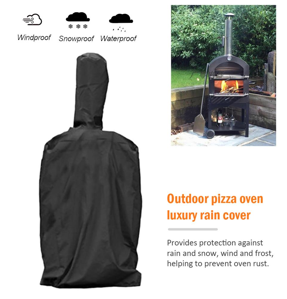 Outdoor Pizza Oven Cover Barbecue Box Rainproof Dustproof Waterproof Oxford Cloth PVC Coating Cover Black 58x45x168cm