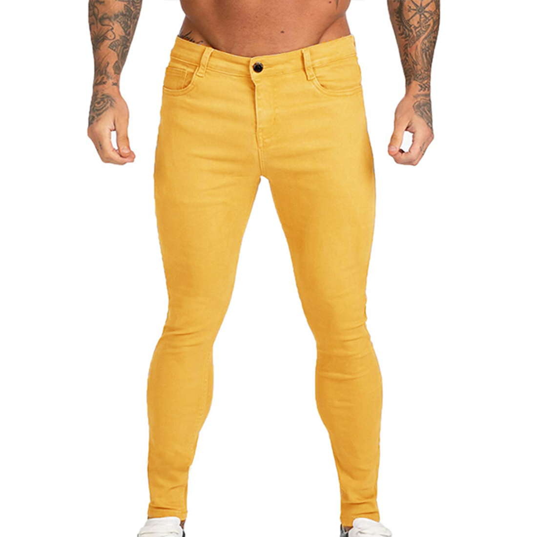 2020 Men Stylish Solid Jeans Pants Biker Skinny Slim Fit Straight Denim Trousers Men Hip Hop Streetwear Pencil Pants