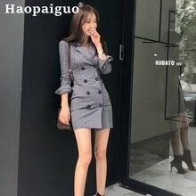 Gray Double Button OL Office Work Dress Women Print Striped Mini Blazer Dress Women Sheath Package Hip Autumn Dress Plus Size