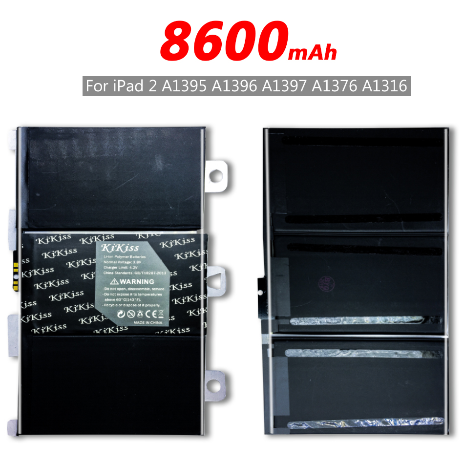 Free Tool KIKISS 8600mAh A1395 Battery For iPad 2 ipad2 A1395 A1396 A1397 A1376 <font><b>A1316</b></font> Battery Bateria + Tracking Number image