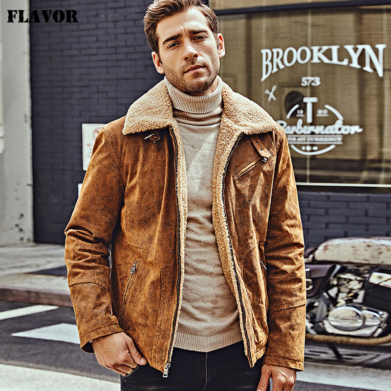 FLAVOR New Men's Genuine Leather Motorcycle Jacket Pigskin With Faux Shearling Real Leather Jacket Bomber Coat Men