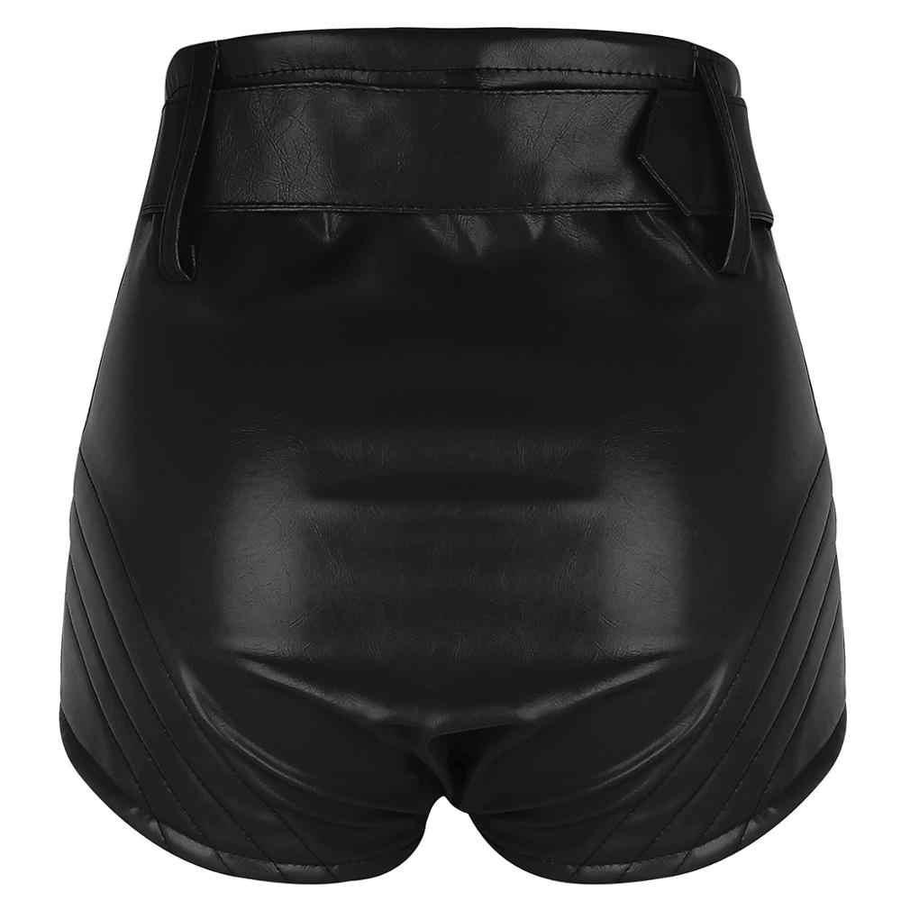 Calções de dança pólo feminino olhar molhado rave couro shorts roupas cintura alta bottoms com cinto dança booty shorts rave roupas