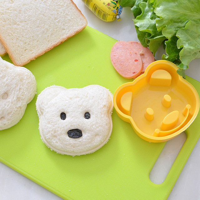 1pc Home Garden Kitchen Dining Bar Bakeware Baking Pastry Tools DIY Mould Sandwich Toast Bread Yellow Small Bear Shape Molds