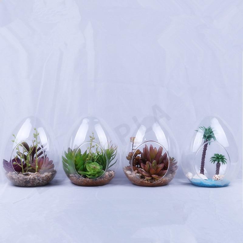 12pcs/pack 8*10cm Small Size Egg Shaped Glass Terrarium Vase Diameter=8cm Height=10cm Microscape Hydroponic Plant Decoration