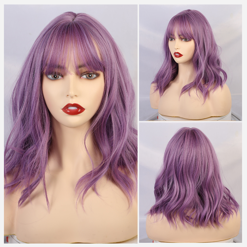 Blonde Unicorn Short Wig With Bangs 14 Inch Water Wave Synthetic Wigs For Women Purple Lolita Cosplay Female Daily False Hair