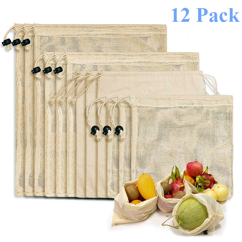 Reusable Shopping Bags 100% Cotton Vegetable Fruits Storage Bags 12 PCS Mesh Grocery Shopping Product Bag Women Washable  Bags