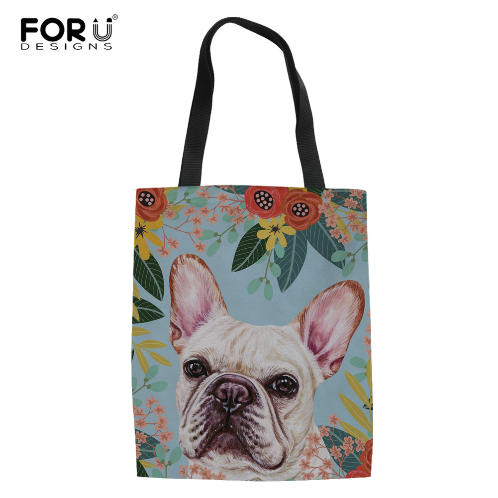FORUDESIGNS French Bulldog Florals Women Totes Canvas Bags Reusable Shopping Bag Girls Shoulder Bag For Shopper Bolsas De Tela