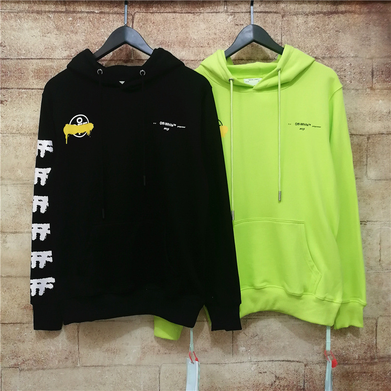 Europe And America Fashion Off White Bangkok Qualified Fluorescence Green Ink Arrowhead Hooded Men And Women Couples Hoodie