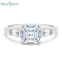 NiceGems 14K White Gold Asscher cut Moissanite Trilogy Engagement  Ring Center 7x7mm 4 double prong with tapered baguettes ring