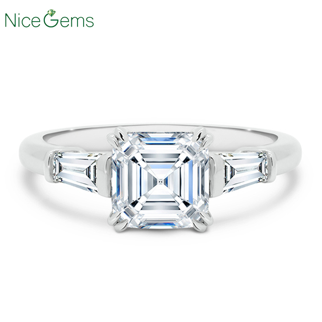 NiceGems 14K białe złoto Asscher cut Moissanite trylogii pierścionek zaręczynowy centrum 7x7mm 4 podwójne prong ze zwężającymi się bagietki pierścień
