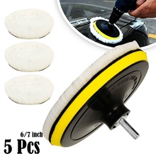 5PCS Universal Polierer Buffer kit 6/7 Zoll Weiche Wolle Motorhaube Pad Weiß Auto Polierer Auto Körper Polieren Discs Zubehör waren