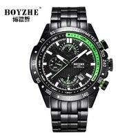Boyzhe topo da marca de luxo relógios automáticos dos homens cronógrafo relógio masculino esportes mecânicos relógio masculino aço completo relogio masculino|Relógios mecânicos| |  -