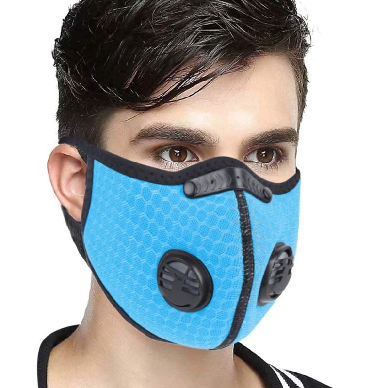 Double Valve Dust Mask Activated Carbon Filter Exhaust Pipe Gas Hypoallergenic PM2.5 Fitness Running Motorcycle Riding Mask