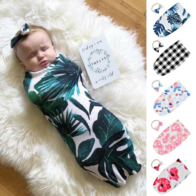 Newborn Infant Baby Swaddle Blanket Sleeping Swaddle Muslin Wrap Headband Cute Lovely Cotton Sleeping Bags Photo Props